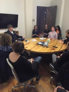 BardMBA students and staff meeting with Etsy's VP of Values and Impact, Matt Stinchcomb