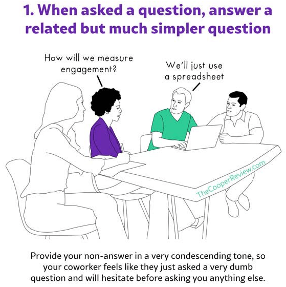 cartoon of gaslighting example, when asked a question, answer a related but much simpler question