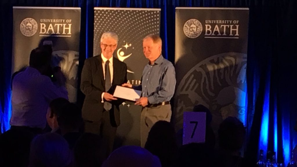 Paul Griffiths receives his award from Ian White