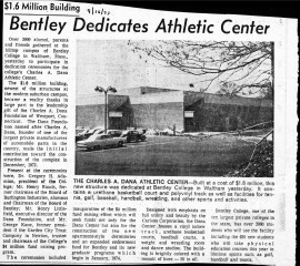 A Bentley newspaper article on the dedication of the Dana Center.