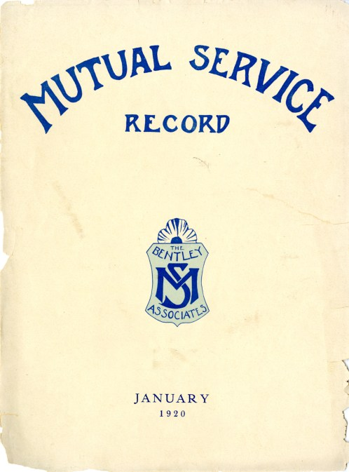 "The cover of an early alumni newsletter. ""Mutual service"" was the first motto chosen by the Associates."