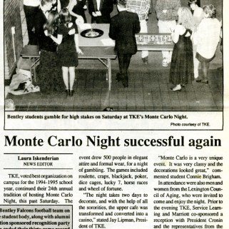 This 1995 article profiles Monte Carlo Night, a casino-style fundraiser organized by TKE. The fundraiser ran annually for over 30 years and was one of the most popular events on campus.
