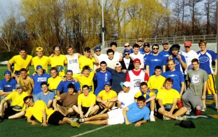Men's Ultimate Frisbee, 2011. The sport emphasizes fun and fitness while combining elements of several different games.