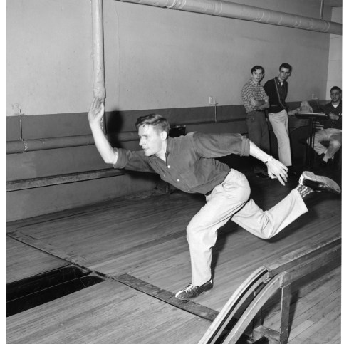 Member of the Bowling team during a match in the 1950s. True to New England tradition, candlepin was the game of choice for Bentley's team!