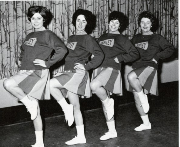 Cheerleading, 1966. The establishment of the sports program at Bentley in the early 1960s created an opportunity for a cheerleading team to organize.