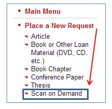 Scan on Demand in the ILLiad Menu
