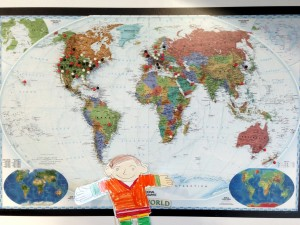 Flat Stanley with a map of some of the libraries that we've shared resources with!