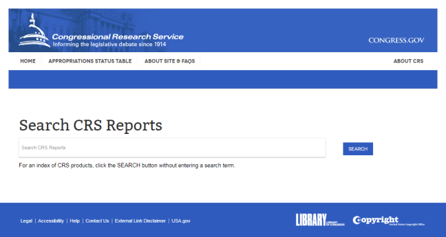 Search CRS Reports Homepage
