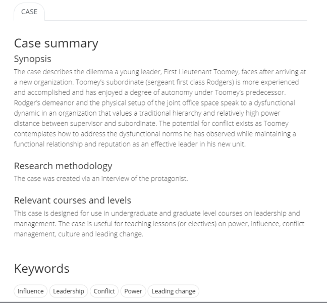 Example Case summary page.