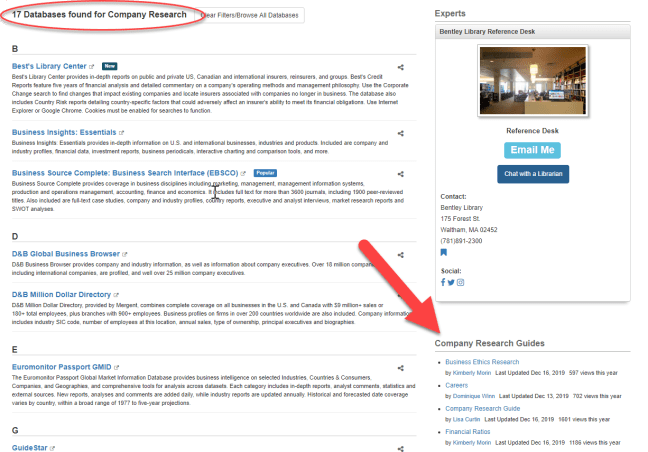 Screenshot of Databases A-Z subject filter page for Company Research with Research Guides highlighted.
