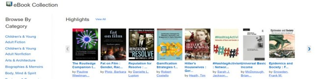 Screengrab of eBook Collection Highlights browsing menu with recent collection additions.