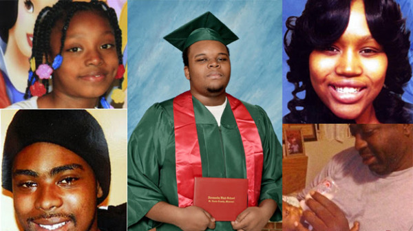 Stolen Lives. Clockwise from bottom left: Oscar Grant, Aiyanna Jones, Michael Brown, Renisha McBride and Eric Garner were African Americans who were shot and killed while unarmed