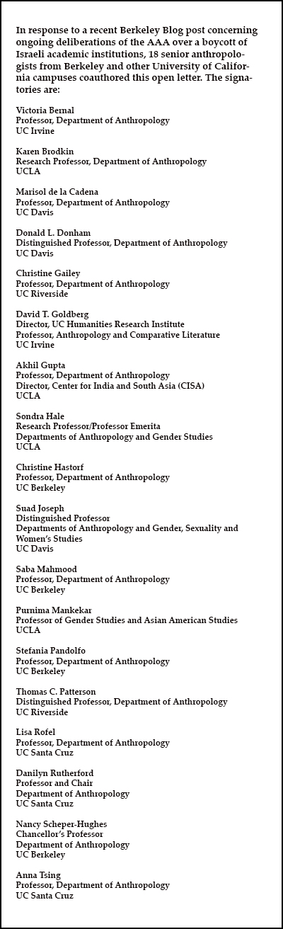 Names of 18 anthropologists from Berkeley and other UC campuses who signed this letter