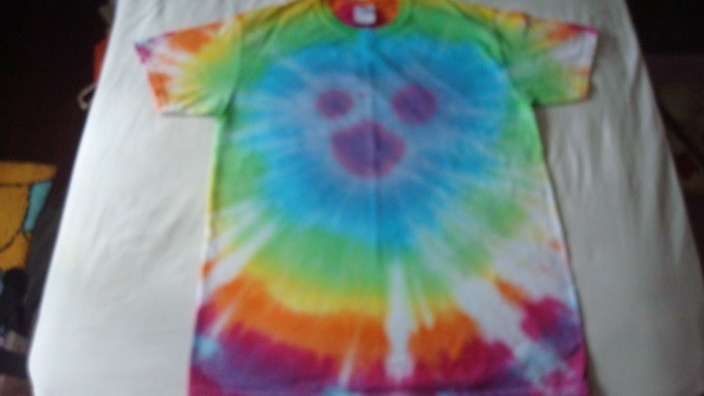 My finished Mickey Mouse tie-dye T-shirt.