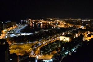 Night view of Malaga.