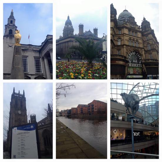 A collage of Leeds sights.