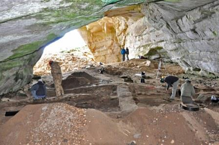 View of the excavations in Covesea Cave 2