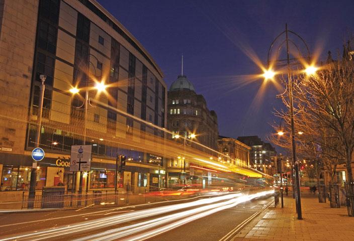Bradford city centre street at night