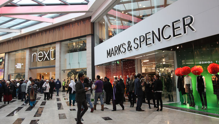 Shoppers at the Broadway, outside Marks and Spencer and Next