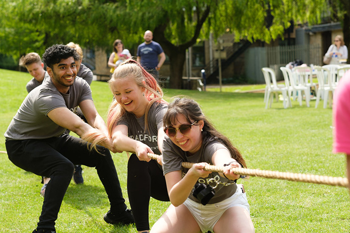 Students playing tug of war at Team Bradford Fest 2019.