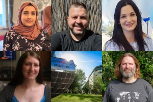 A grid image including five adult learners and the University of Bradford campus.