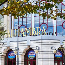 Partial exterior of the Alhambra Theatre in Bradford city centre.