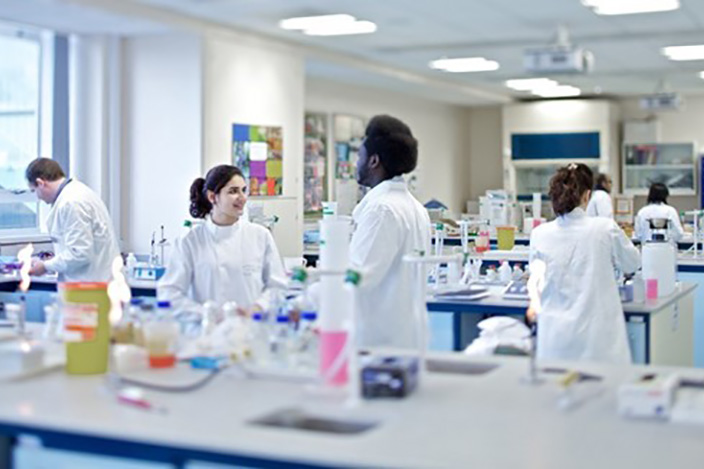 Students working in a Biomedical Science lab.
