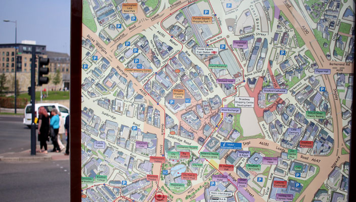 Map of Bradford city centre