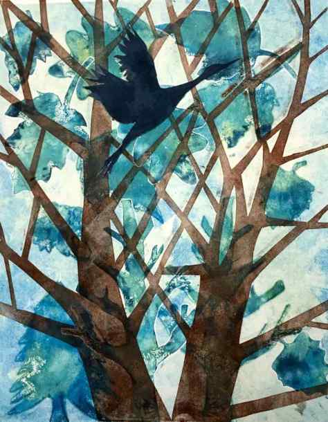 Trees & Bird Monotype with Collage