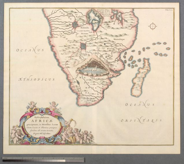 "One of the earliest depictions of Southern Africa, this shows the source of the Nile in Ptolemy's ""Mountains of the Moon."" Printed by Athanasius Kircher in Amsterdam in 1665. Source: Stanford University Library."