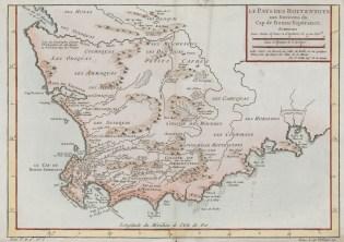 """A map entitled """"Le Pays des Hottentots aux Environs du Cap de Bonne Espérance,"""" or """"The Country of the Hottentots in the Area of the Cape of Good Hope."""" Source: Stanford University Library."""