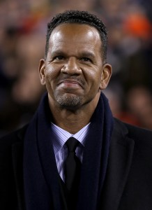 2014 Pro Football Hall of Fame class member Andre Reed is introduced at halftime of Super Bowl XLVIII at Metlife Stadium on Sunday, Feb. 2, 2014, in East Rutherford, N.J. (AP Photo/Ben Liebenberg)
