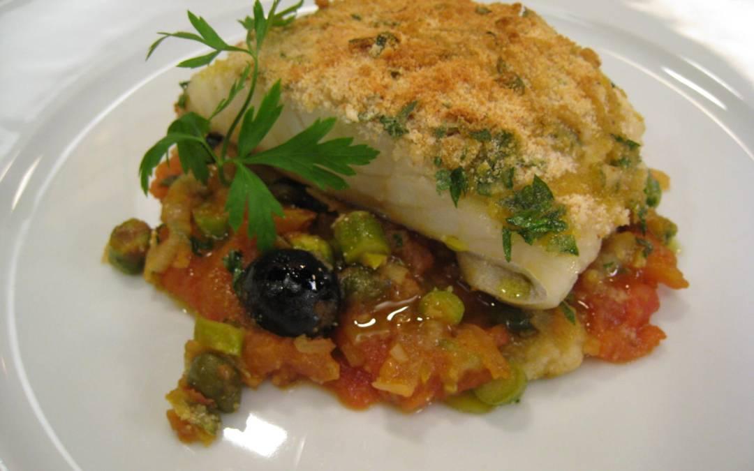 Bacalao gratinado con verduras