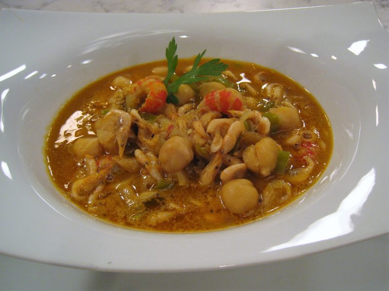 Garbanzos con cangrejos