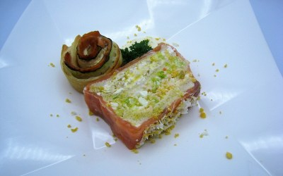 Pastel de Navidad con salmón