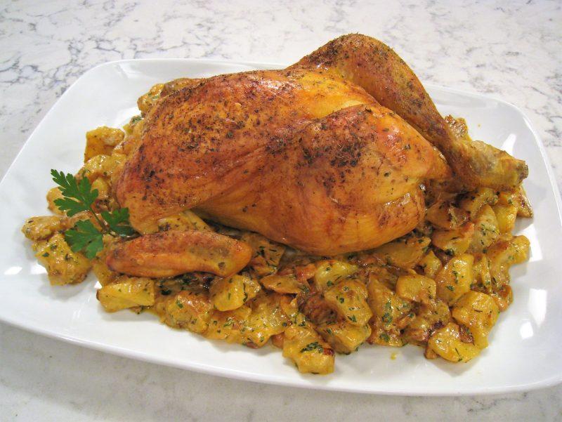 Pollo de corral al horno