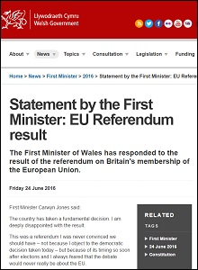 Statement by the First Minister: EU referendum result / Welsh Government