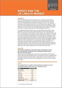 Brexit and the UK labour market / Institute for Public Policy Research
