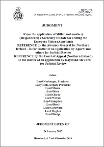 Article 50 'Brexit' appeal: Judgment given on 24 January 2017 / Supreme Court