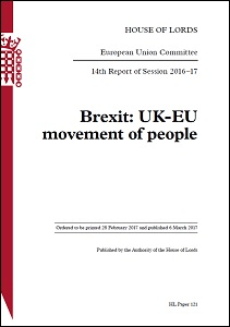 Brexit: UK-EU movement of people / House of Lords: Select Committee on the European Union