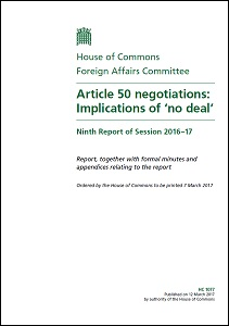 Article 50 negotiations: Implications of 'no deal' / House of Commons: Foreign Affairs Committee