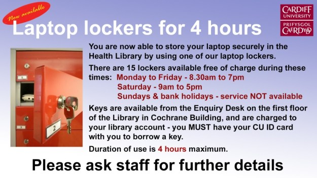 Laptop lockers available in Health Library