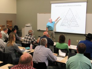Larry Schwankl, UCCE Irrigation Specialist, presenting to CCAs at a Train the Trainer course in November 2015.