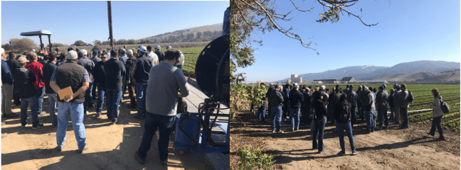 Attendees of the 2018 Farm Tour listen to Mark Mason of Huntington Farms and Anthony Duttle of Tanimura and Antle discuss the challenges and opportunities of central coast agriculture.