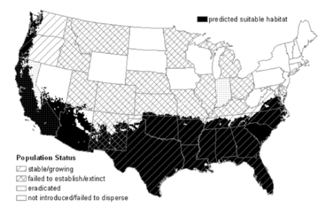 map for predicted suitable habitat