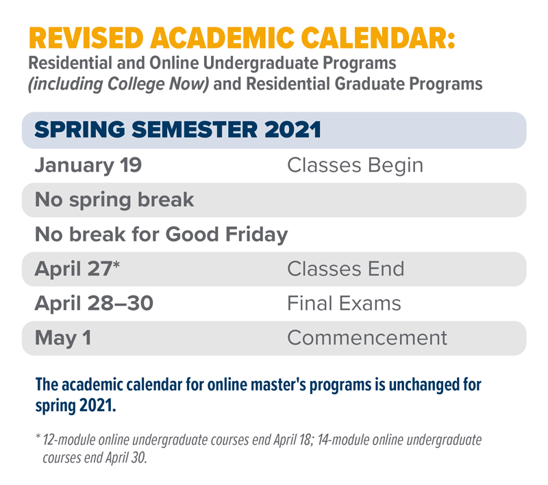 Changes to Spring 2021 Academic Calendar