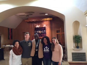 Pastor Jimmy Mann and 3 current Cedarville Students and 1 Cedarville alumni