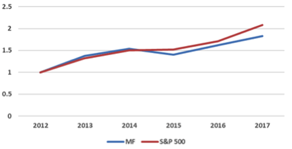Top 30 MF Stocks vs. S&P 500, 2013–2017