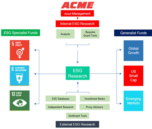 Diagram of hypothetical company's integration of ESG factors