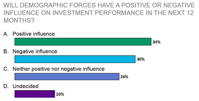 Will demographic forces have a positive or negative influence on investment performance in the next 12 months?